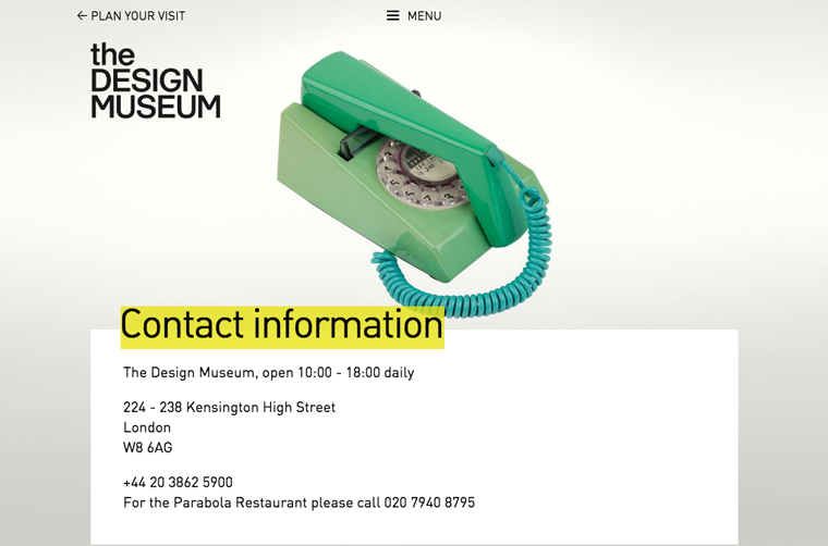 The London Design Museum's contact page